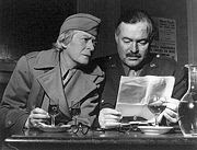 Janet Flanner (l), with Ernest Hemingway
