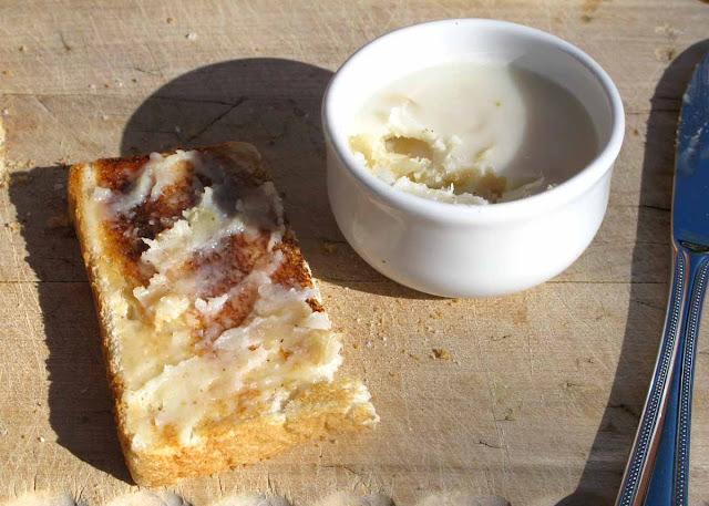 Garlic in goose fat spread on toast.