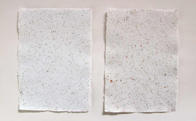 Handmade papers with moss and with onion skin.