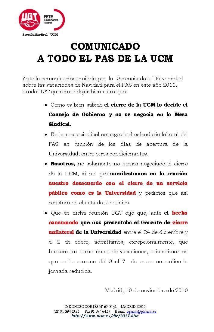 Secci n sindical de cnt en la uned noviembre 2010 for Oficina relaciones internacionales ucm