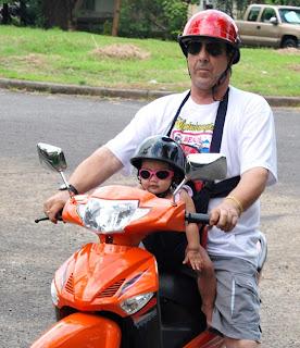 Dave Dewbre on 1000 watt Eagle electric motor bike with daugther Alysha Ariela Ricaplaza