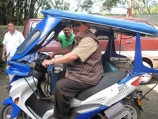Mayor Ed Hagedorn of Puerto Princesa City, Palawan testing the new E trike prototype