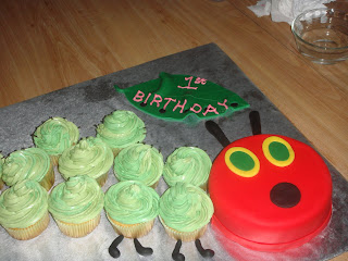 Very Hungry Caterpillar First Birthday Cake-right side with leaf