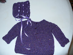 Purple Rib Yoke Sweater and Eyelet Bonnet