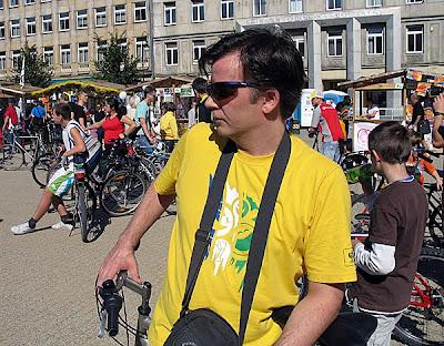 Paweł podczas liczenia rowerzystów
