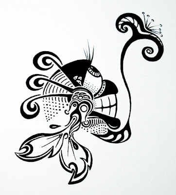 Fishing For a Flower: Ink Blot illustration by Lani Mathis and Michael Ayers