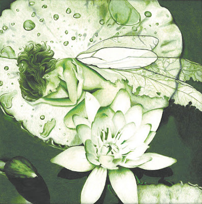 The Green Fairy colored pencil illustration by Lani Mathis of GreenSpaceGoods.