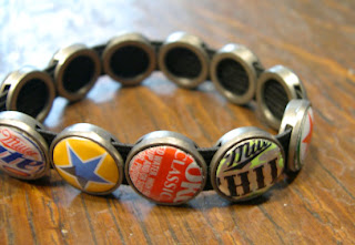 Our newest stretchy recycled bottle cap bracelet. Enviromental jewelry by Lani and Michael.
