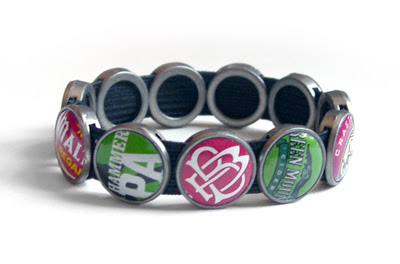 Green and Pink recycled Bottle Cap Bracelet by Lani Mathis and Michael Ayers of GreenSpaceGoods