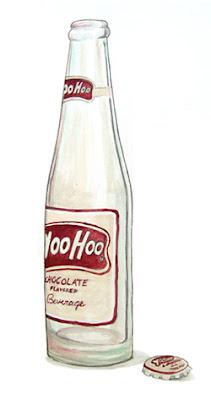 Vintage Yoo-Hoo bottle painting by Lani Mathis of GreenSpaceGoods