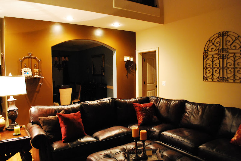 Orange Accent Wall Living Room