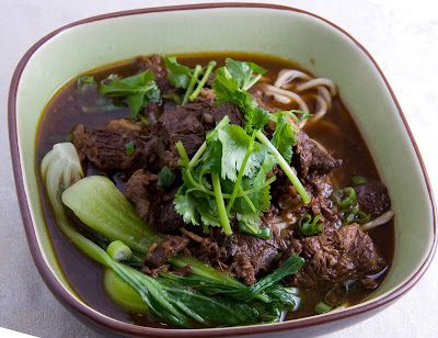 Taiwan style beef noodle soup $ 7.50