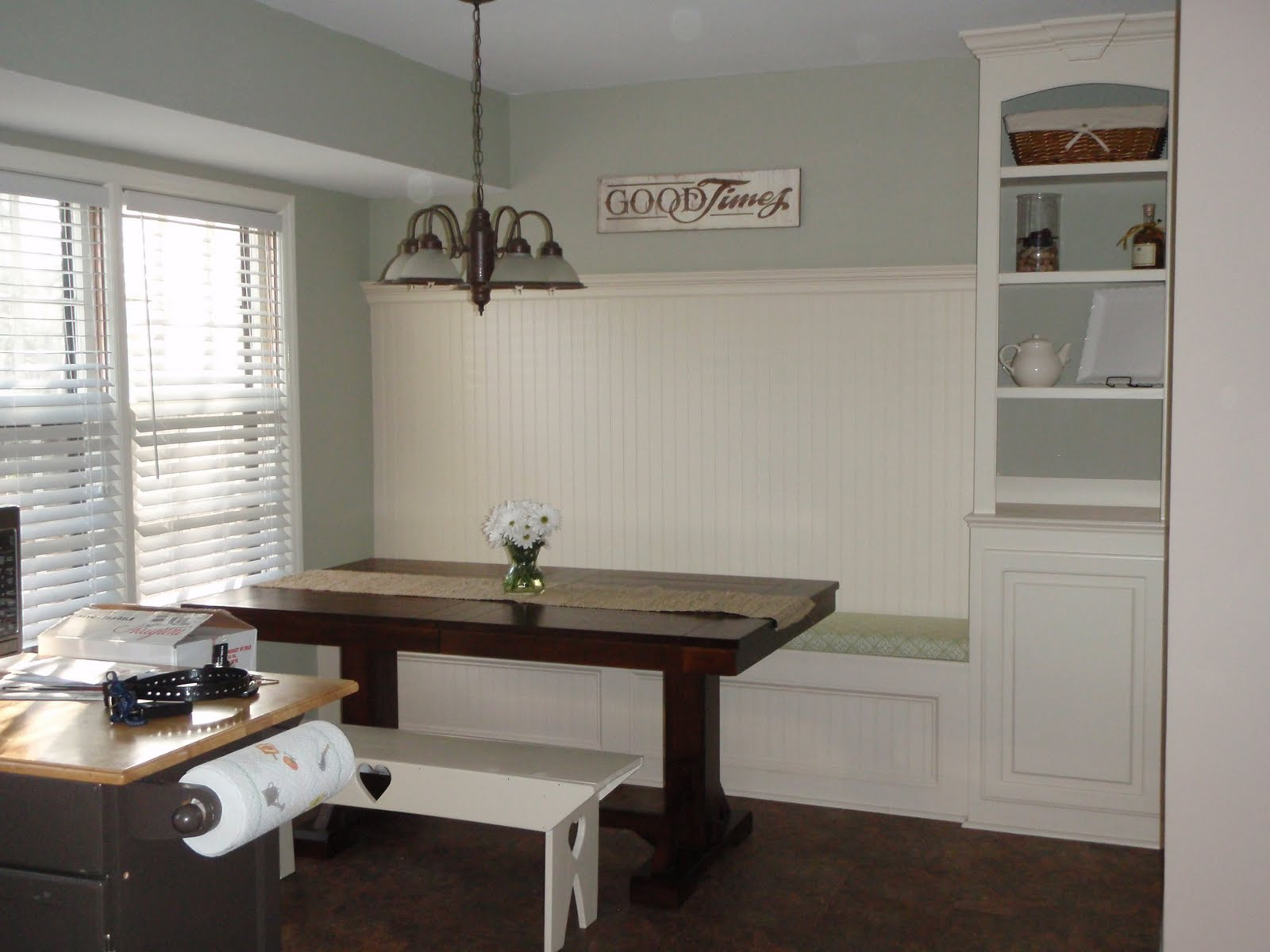 Remodelaholic kitchen renovation with built in banquette for Built in kitchen seating ideas