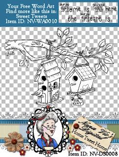 digital stamp home tweet home birdhouse
