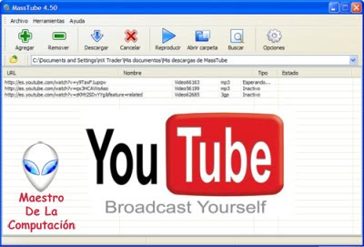 Masstube – Descarga vídeos de Youtube en varios formatos