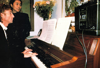 John Lennon and Yoko Ono at the piano, 1980