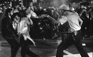 Chicago Police come at crowds with nightsticks and tear gas as they try to break up protests during the the Democratic National Convention in Chicago in August 1968.
