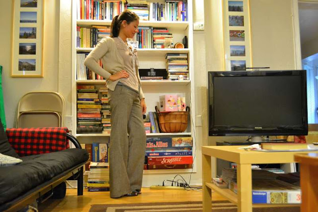 office fashion blogger old navy pants swap top pink brown gray cardigan