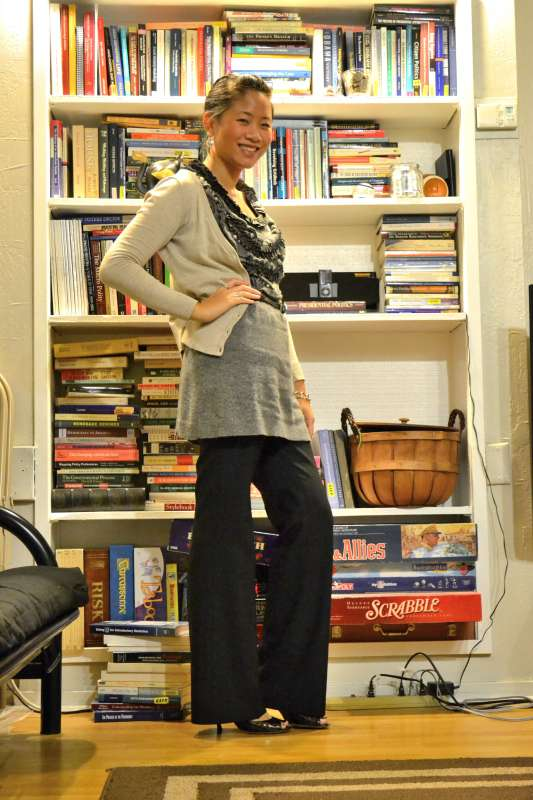 office fashion blog the new professional angeline evans gray ruffle dress banana republic pants hm cardigan 30 for 30 challenge