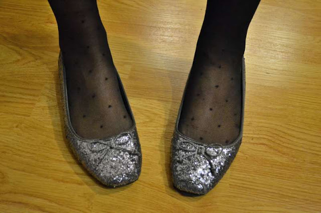 sacramento office fashion blogger angeline evans the new professional glitter flats target polka dot tights holiday party