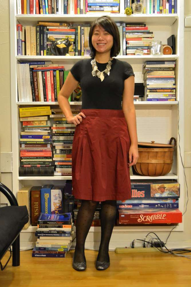 sacramento office fashion blogger angeline evans the new professional wet seal tee target skirt glitter flats polka dot tights holiday party