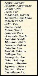 La palabra PAZ en todos los idiomas