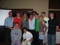 Olympian Marcus'O'Sullivan (left)with Gloucester Catholic Cross Country seniors and coach