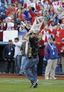 Shane Victorino with World Championship Trophy