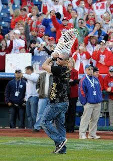 Shane Victorino with World Championship Trophy