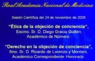 Objeción de Conciencia. Sesión Científica en la Real Academia Nacional de Medicina