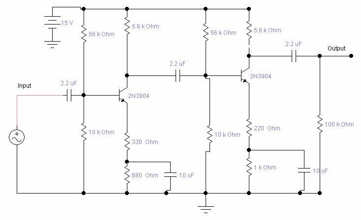 skema amplifier mini pakai transistor