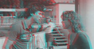 Movie still of Jaws 3-D in anaglyph 3-D