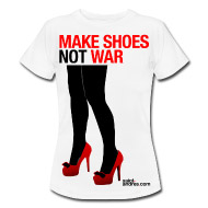 high heels shoes, t-shirt