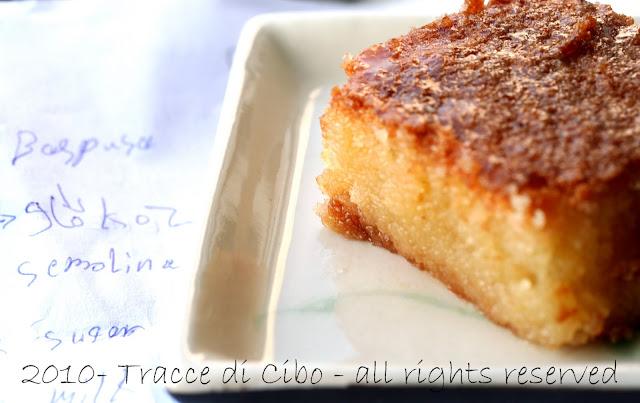 semolina cake, basbusa, basboosa, basousa, ravani, torta semolino