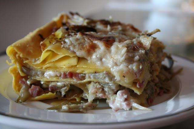 lasagna, carciofi, lasagna bianca, prosciutto