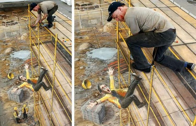 Amazing Sidewalk Painting Optical Illusion