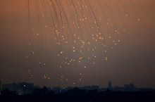 white phosphorus explodes over gaza