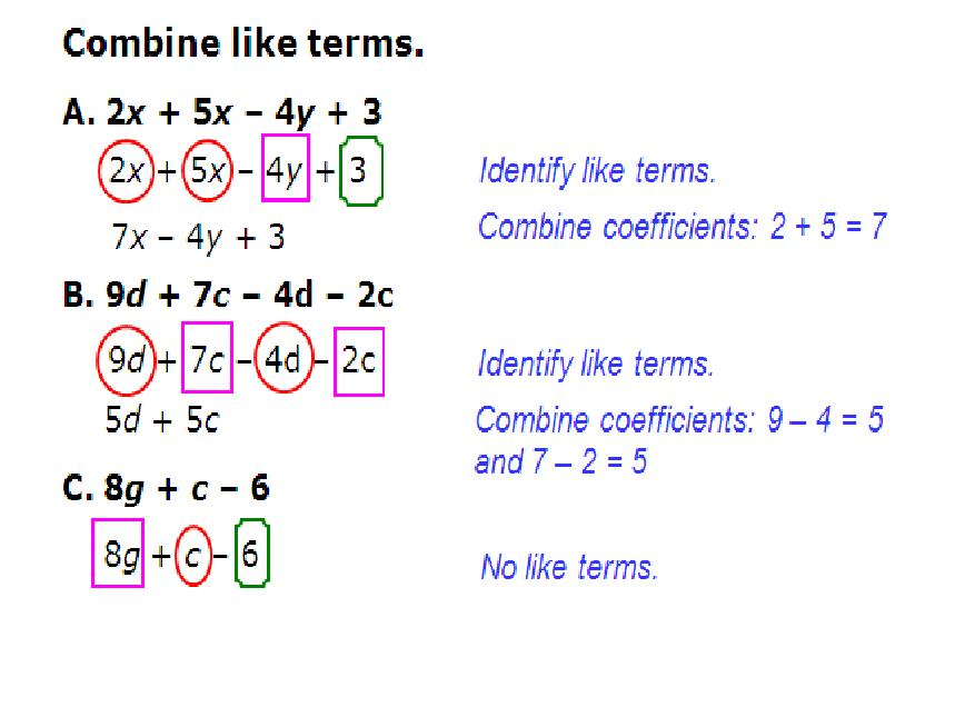 Math Worksheets Combining Like Terms Combining Like Terms – Combining Like Terms Worksheet 6th Grade