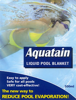 Aquatain pool formula acts as a liquid blanket to reduce - Swimming pool evaporation control ...