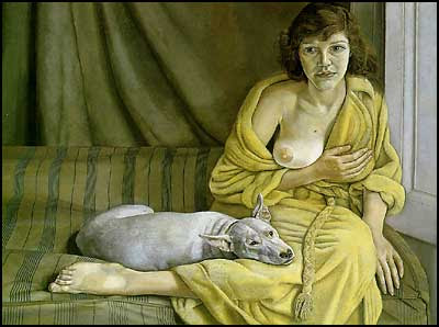 Girl with a white dog - Lucian Freud [clique para ampliar]