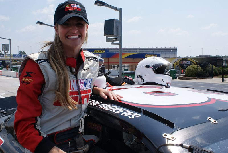 Erin andrews straps in at atlanta skirts and scuffs for Atlanta motor speedway ride along