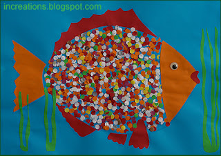 Fish with paper punch scales