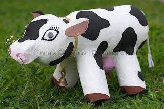 Paper-mache cow