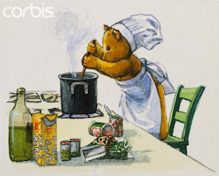 teddy bear in kitchen cooking