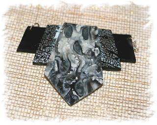 Silver Mokame gane pendant - personal piece polymer clay