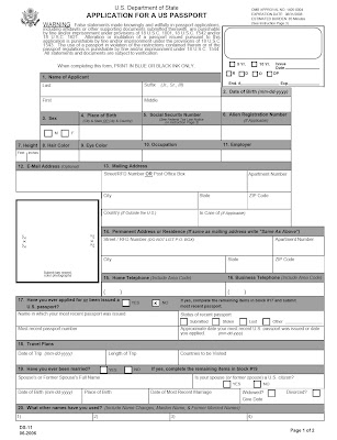 front page of application for a U.S. passport