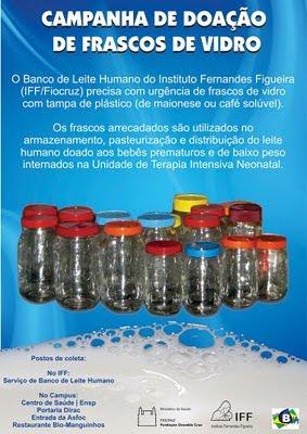 Desenvolvimento Sustentável: Campanha de doação de frascos de vidro