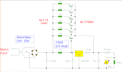 Circuit & schematics: 12 Volt 30 Amp Power Supply