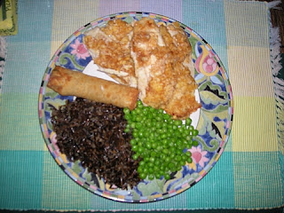 tilapia, wild rice, and peas