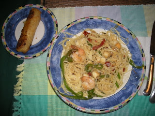 scallops, shrimp, and pasta